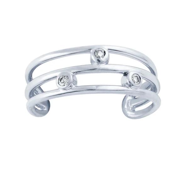 Genuine Diamond Triple Band 14K Gold Toe Ring