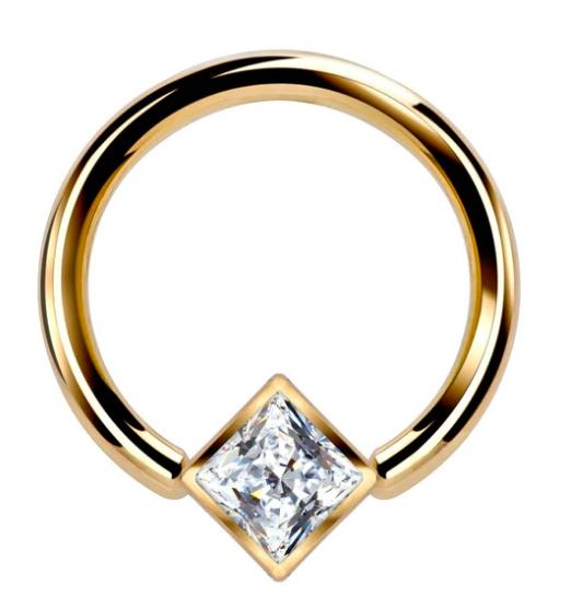 Princess CZ Corner Mount Bezel 14k Gold Captive Bead Ring