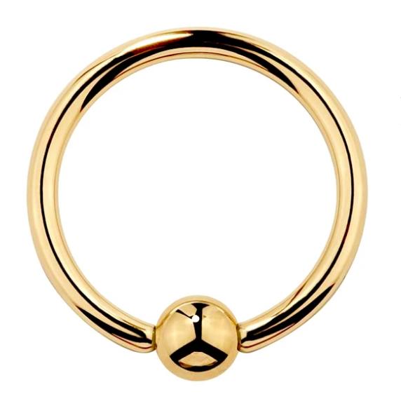 14K Gold Captive Bead Ring