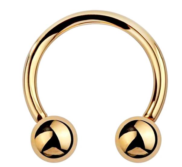 14K Gold Circular Barbell