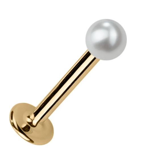 3mm Cultured Pearl 14K Gold Stud Labret