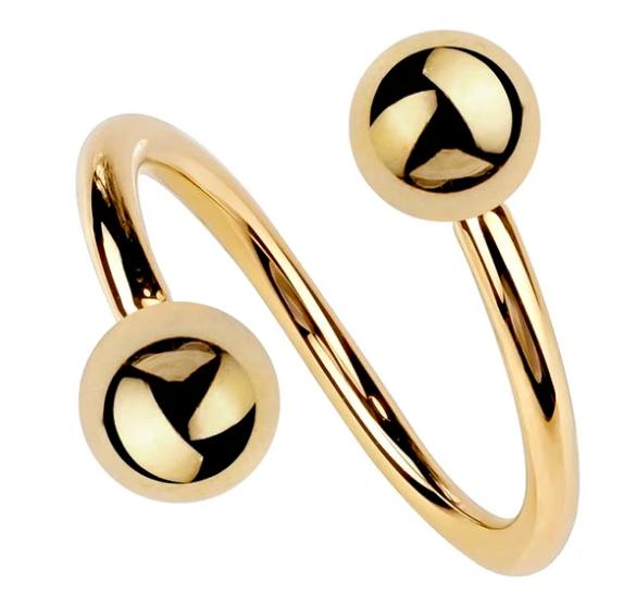 14K Gold Twister Spiral Barbell