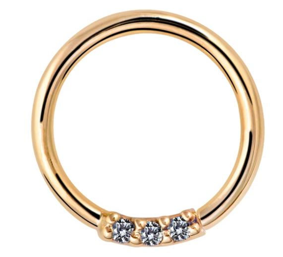 Three Diamonds Seamless Ring Hoop 14K Gold or Platinum