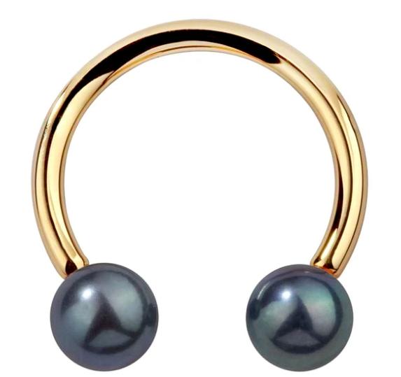 Cultured Peacock Pearl 14K Gold Circular Barbell