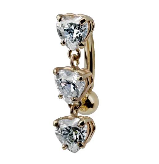 Trinity Heart Cubic Zirconia 14K Gold Internal Belly Ring