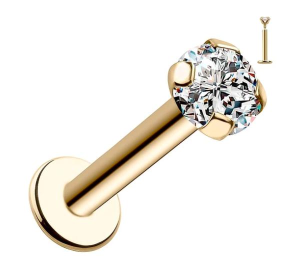 2mm Diamond Low-Set Prong 14k Gold Labret Cartilage Flat Back Earring
