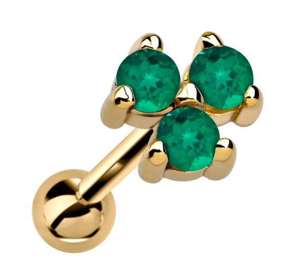 Triple Genuine Birthstone 14k Gold Cartilage Earring