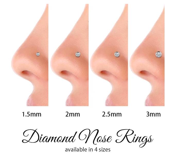 Diamond nose rings size chart