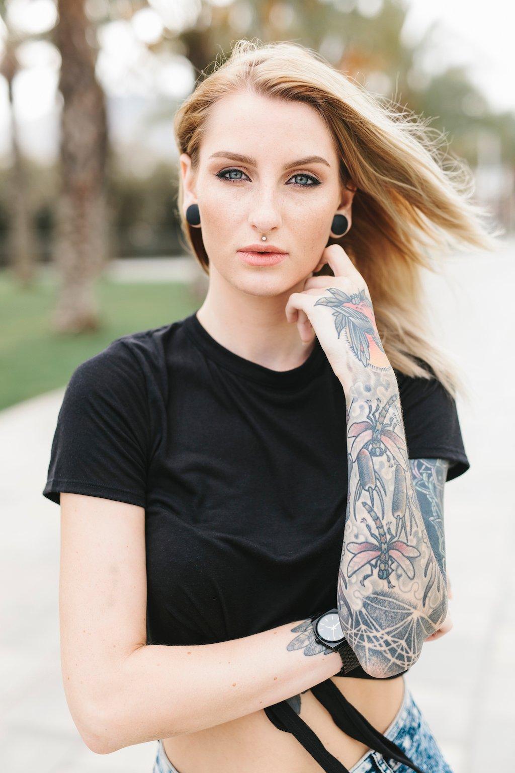 Portrait of a Beautiful Tattooed Woman