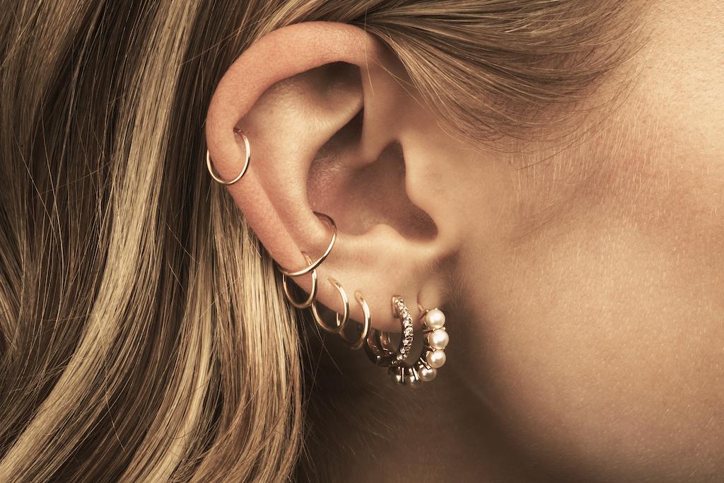 multiple lobe and cartilage piercings
